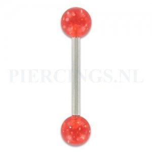 Tongpiercing acryl glitter rood