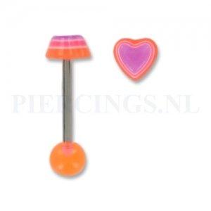 Tongpiercing acryl hart oranje-paars