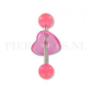 Tongpiercing acryl met donut hart roze