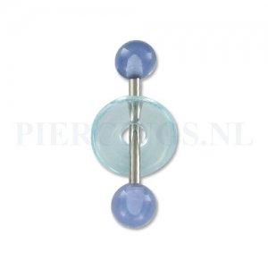 Tongpiercing acryl met donut licht blauw