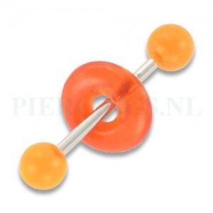 Tongpiercing acryl met donut oranje