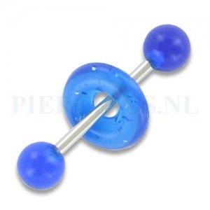 Tongpiercing acryl met donut rond blauw