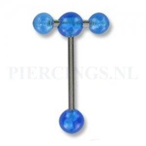 Tongpiercing acryl met extra barbell blauw