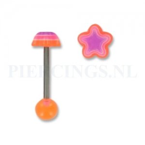 Tongpiercing acryl ster oranje-paars