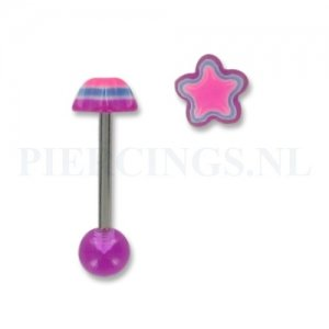 Tongpiercing acryl ster paars-roze