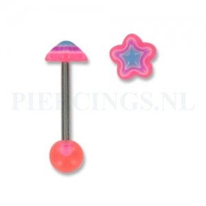 Tongpiercing acryl ster roze-paars-blauw