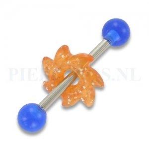 Tongpiercing acryl zaag blauw oranje