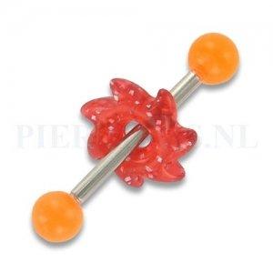 Tongpiercing acryl zaag oranje rood glitter