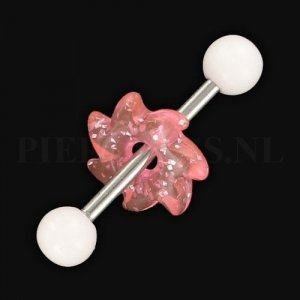 Tongpiercing acryl zaag wit roze glitter