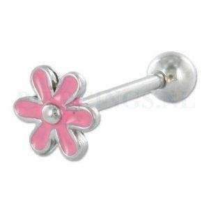 Tongpiercing bloem roze