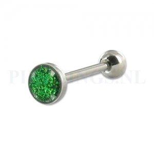 Tongpiercing glitter vlak groen