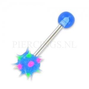 Tongpiercing met tickler blauw spikes