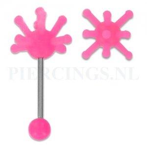 Tongpiercing met tickler roze
