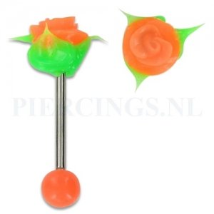 Tongpiercing siliconen roos oranje groen