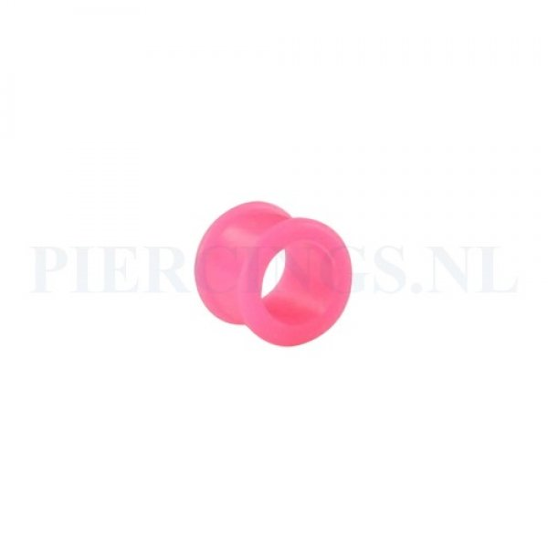 Tunnel siliconen double flared roze 12 mm 11 mm dik 12 mm